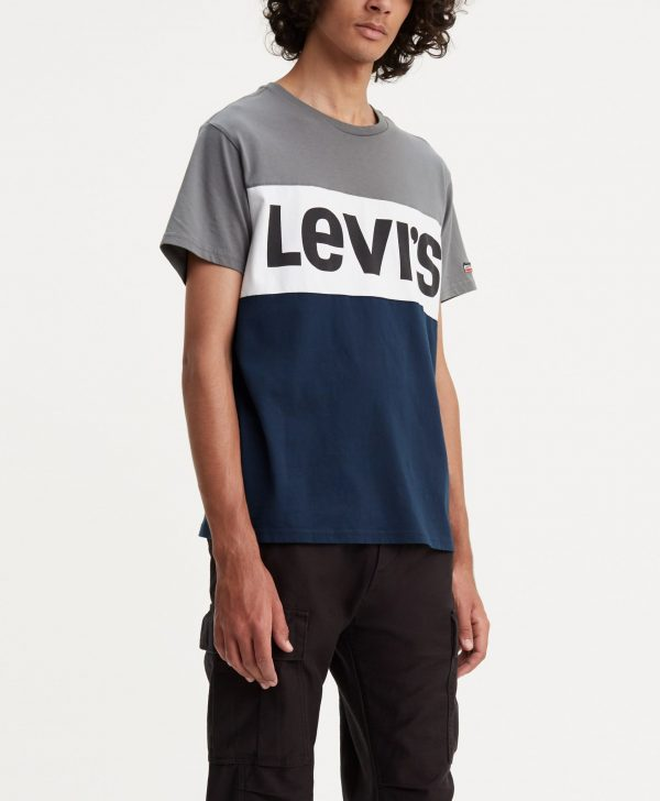 Modell i en Levis SS Colourblock tee Quiet shade framifrån