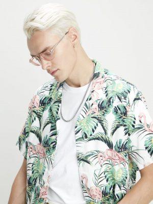 Levis Cubano Shirt - Flamingo Leaf Print